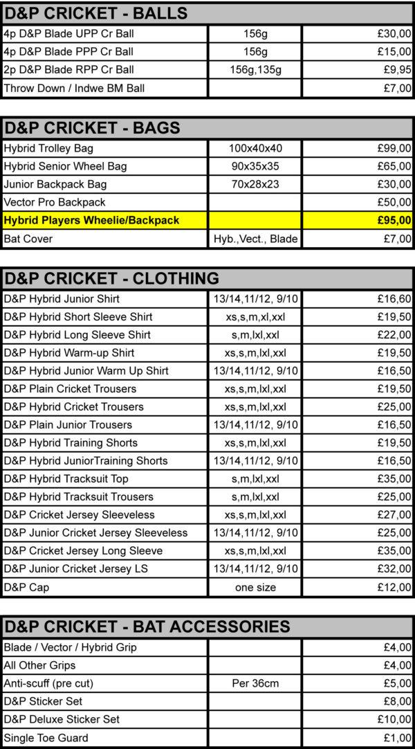 D&P GBP Pricelist - Retail 20182019-2